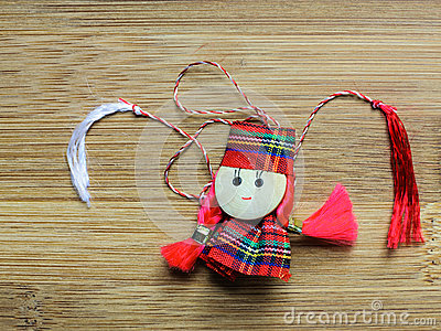 Little girl doll homemade martisor red white