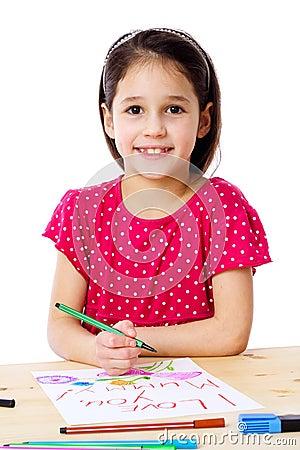 Little girl draw for mum