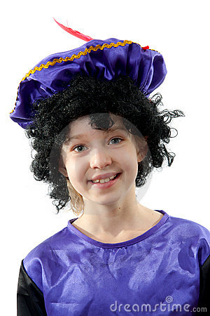 Little girl dressed as black pete