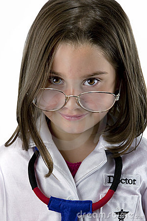 Little girl dressed as doctor