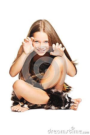 Little girl dressed as prehistoric man