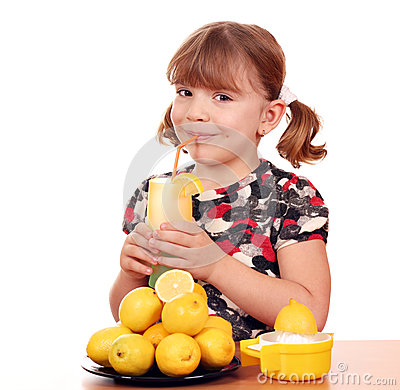 Little girl drink lemonade
