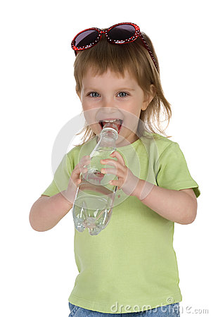 Little girl drink water