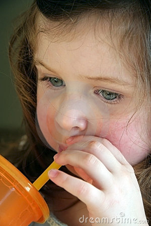 Little girl drinking