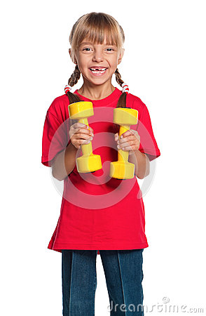 Little girl with dumbbells