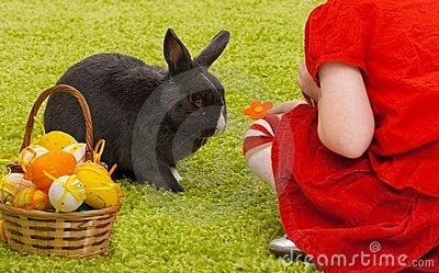 Little girl with Easter bunny