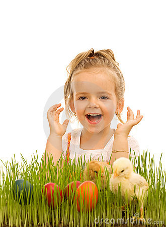 Little Girl With Easter Eggs And Baby Chickens Stock Images - Image: 12945324