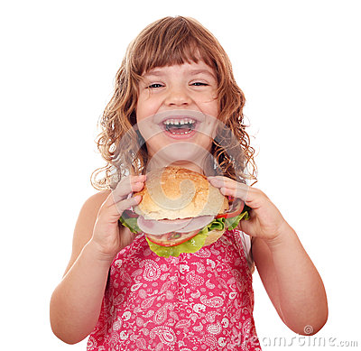 Free Little Girl Eat Big Sandwich On White Stock Image - 29083891