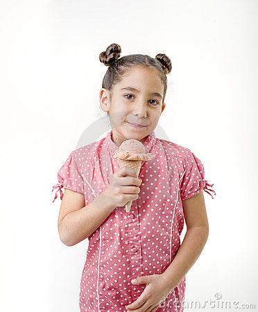 Little girl eating ice cream