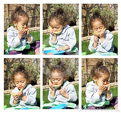 little girl eating melon collage