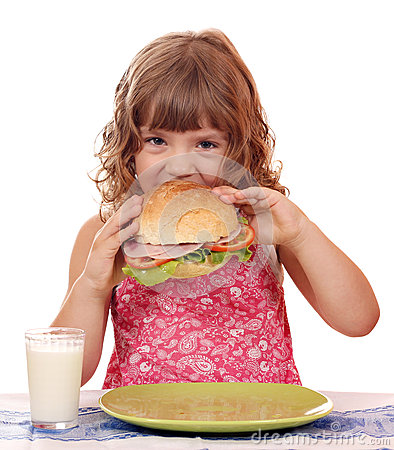 Free Little Girl Eating Sandwich Stock Photos - 30612163