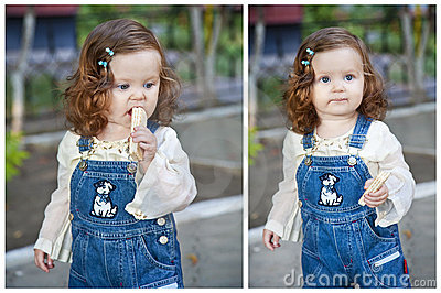 Little girl eating wafer