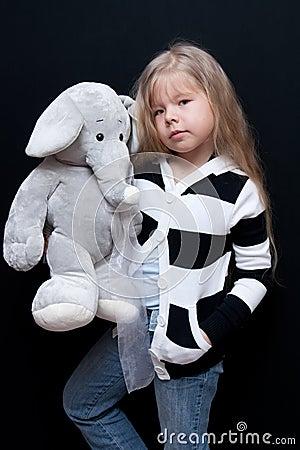Little girl with elephant