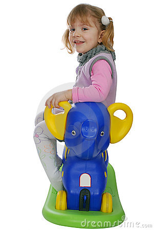 Little girl with elephant toy