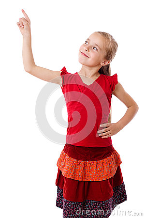 Little girl with empty pointing hand