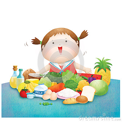 Free Little Girl Enjoy Five Food Group Royalty Free Stock Images - 41067239