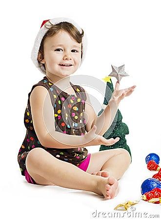Little girl enjoying christmas holiday
