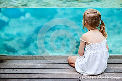 Little girl enjoying sea life