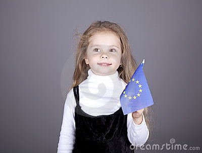 Little girl with european union flag.