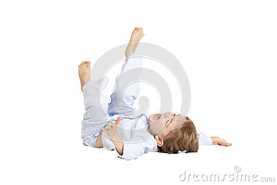 Little girl falling on her back