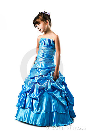 Little girl in fancy dress isolated on white