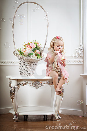 Little girl in a fashionable luxury interior