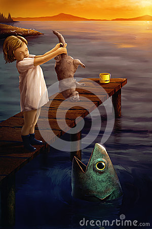 Little girl feeding a cat to a fish - surreal digital art