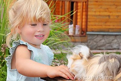 Little girl feeds Guinea pig in courtyard