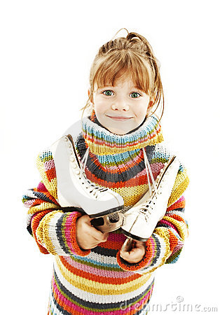 Little girl with figure skates