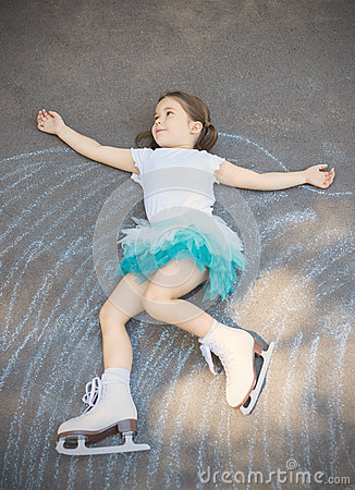 Free Little Girl Figure Skating At Imaginary Skating Rink Arena Stock Photos - 78665523