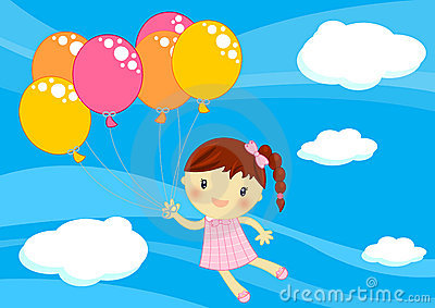 Little girl flying with baloons