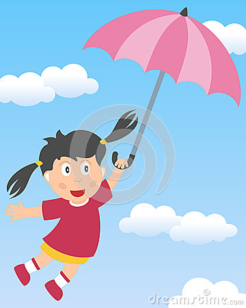 Little Girl Flying with Umbrella