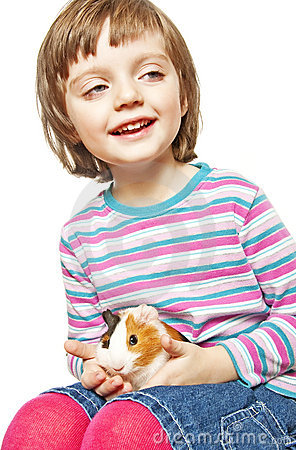 Little girl four years old and guinea pig