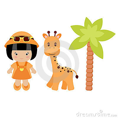 Little girl, giraffe and palm tree