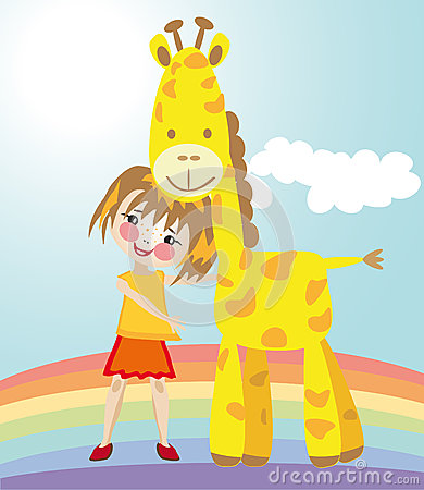 Little girl and giraffe