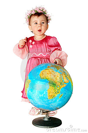 Little girl with a globe