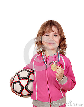 Little girl with golden medal and soccer ball