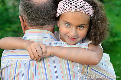 Little girl and grandfather