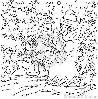 Little girl and Grandfather Frost
