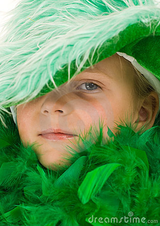 Little girl in green