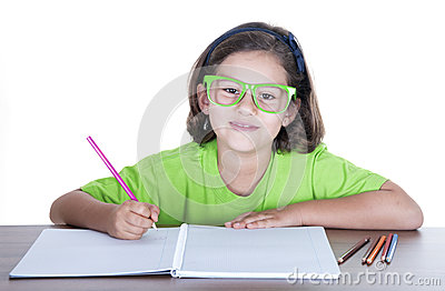 Little girl with green glasses