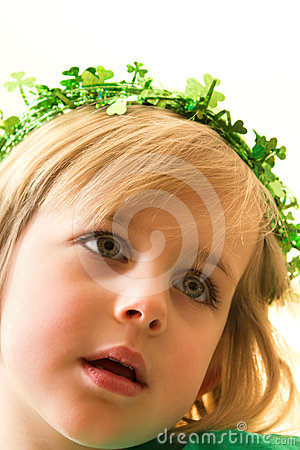 Little Girl with Green Sparkly Clover Crown