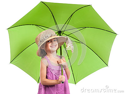 Little girl green umbrella isolated white