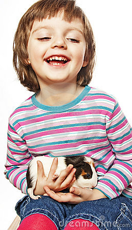 Little girl  with guinea pig