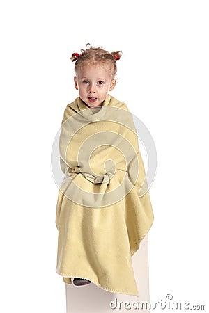 Little girl having a cold