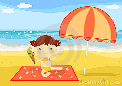Little girl having an icecream on the beach