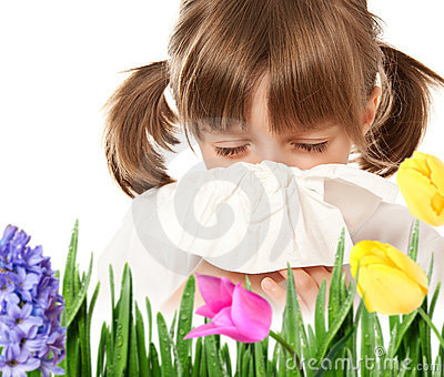 little girl with hay fever