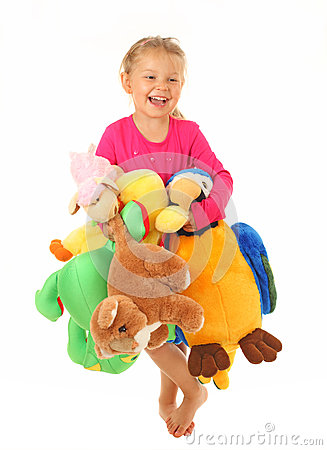 Little girl with her favourite toys