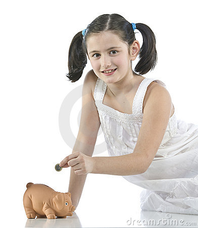 Little girl with her piggy bank