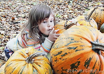 Little Girl Hiding Behind Pumpkins